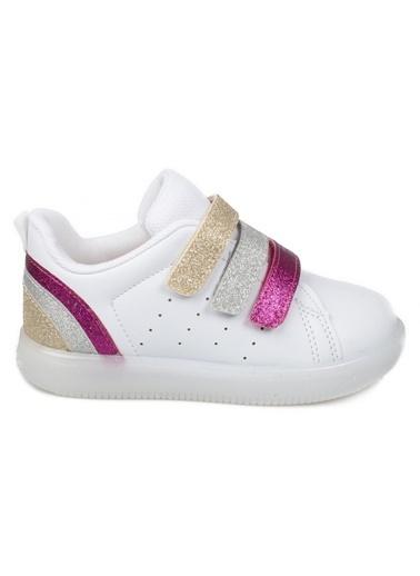 Vicco Vicco Bebe Işıklı Ayakkabı Kız Çocuk Pudra Beyaz